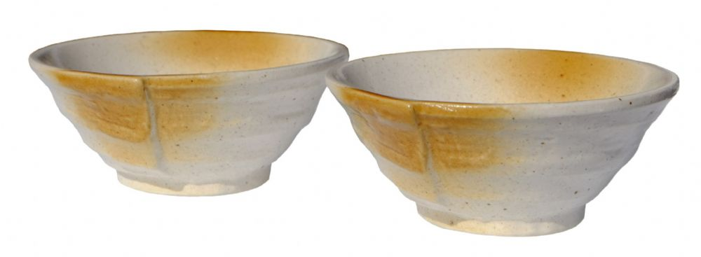 Ammonite White & Amber ceramic bowls Japanese for two